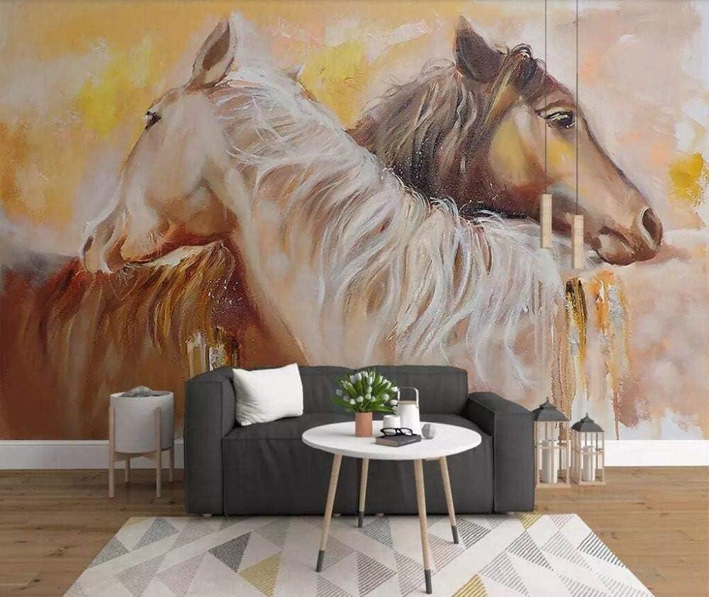 Mural 3D Pared,Personalizado Grande 3D Nórdico Contratado Acuarela Pintada Amantes Caballo Animal Habitación Tv Fondo Decoración De La Pared Sofá Papel Tapiz Murales Sala De Estar,(6.5X3.2) P