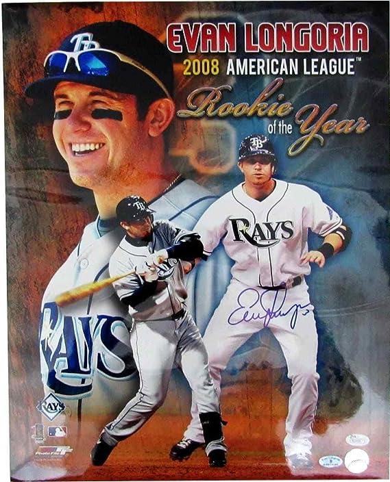 Evan Longoria Autographed Picture Devil 16x20 2008 Roy 129829