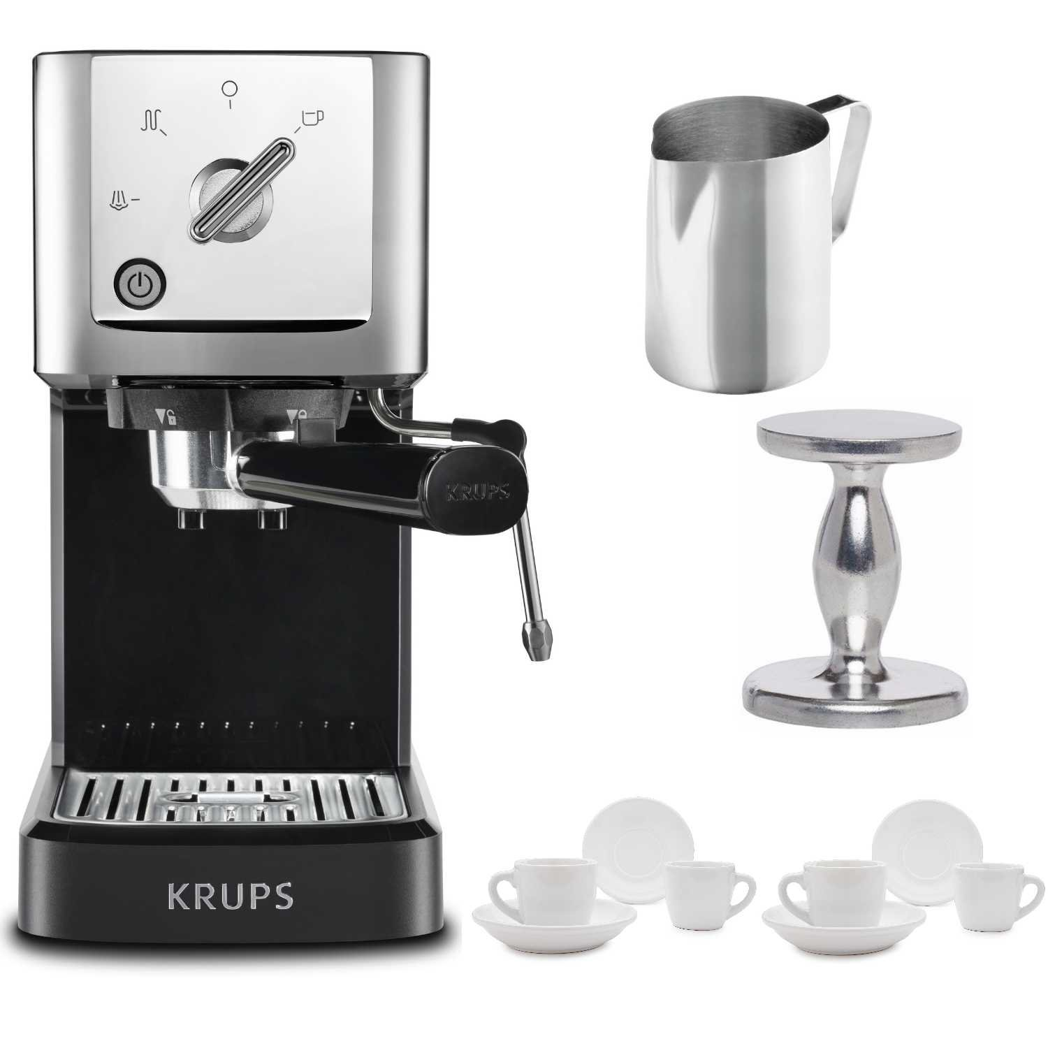 KRUPS XP344C51 Calvi Steam And Pump Compact Espresso Machine, Black Includes Stainless Steel Frothing Pitcher, Espresso Handheld Tamper and Two Ceramic Cups and Saucers