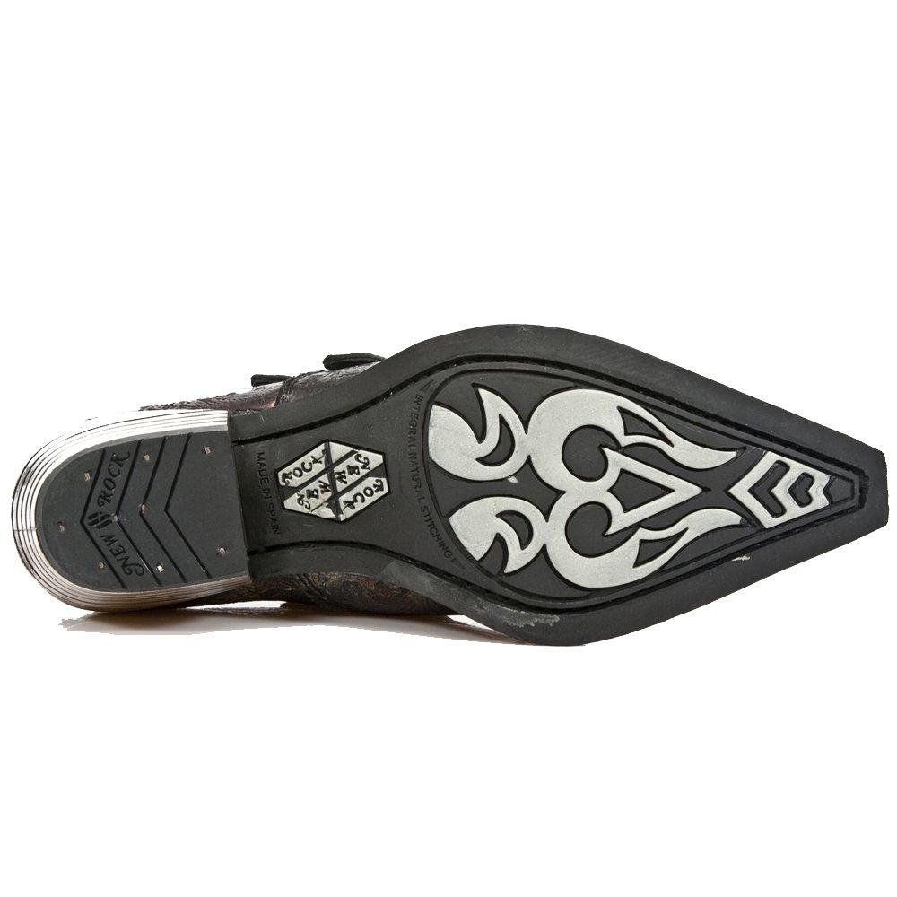 Schwarz-rote neue Rock-Schuhe im Vintage-Design Vintage-Design Vintage-Design mit 2 Skull-Buckles und Block-Heel in Metal-Look aus der New Rock Dallas Collection. bc0e05