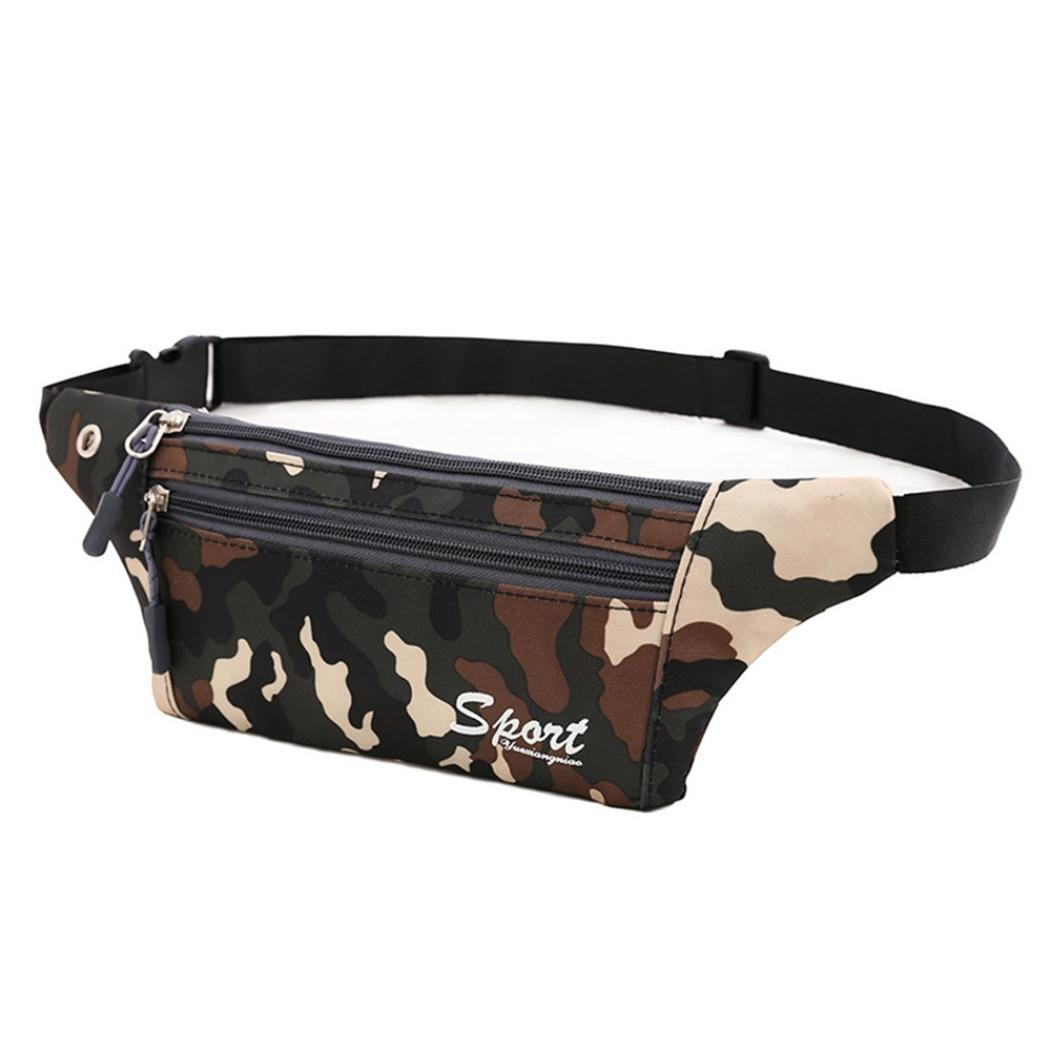 Inkach Fanny Pack - Fashion Unisex Camouflage Canvas Sports Running Waist Bags Pouch Shoulder Chest Bag (Black)