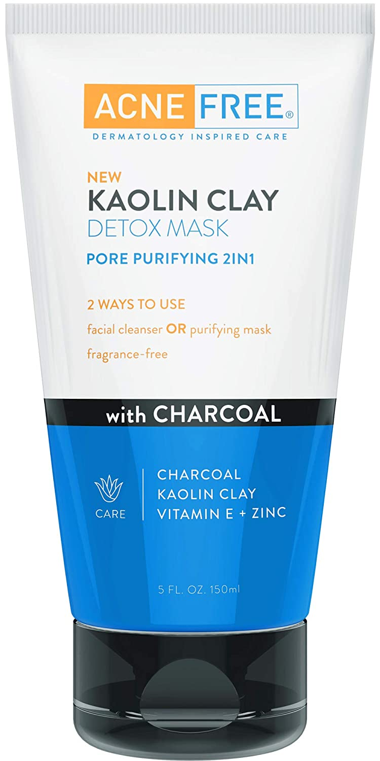 AcneFree Kaolin Clay Detox Mask 5oz with Charcoal, Kaolin Clay, Vitamin E + Zinc, Cleanser or Mask for Oily Skin, To Deeply Clean Pores and Refine Skin L' Oreal/Cerave