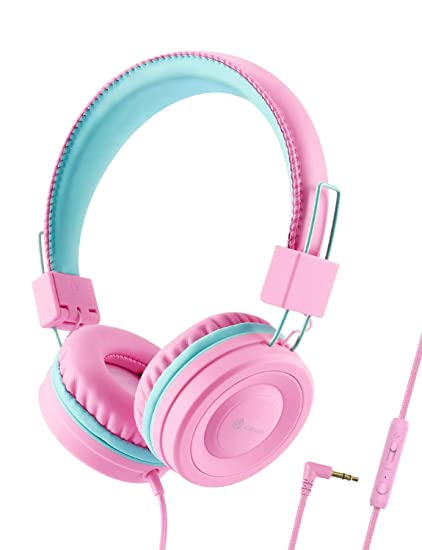 d4791a129b5 iClever Kids Headphones for Girls - Wired Headphones for Kids with MIC,  Adjustable Headband,