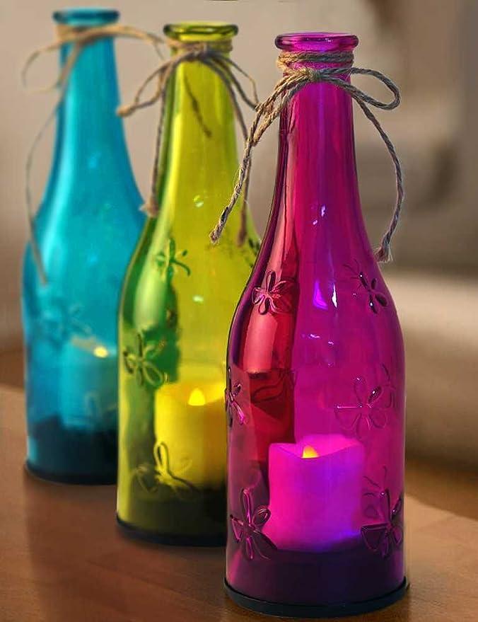 Bright Zeal realista Botella de vino de luces LED multicolor con vela parpadeo (9 cm de altura, Batería Incluida) - Home Improvement velas - Portavelas, ...