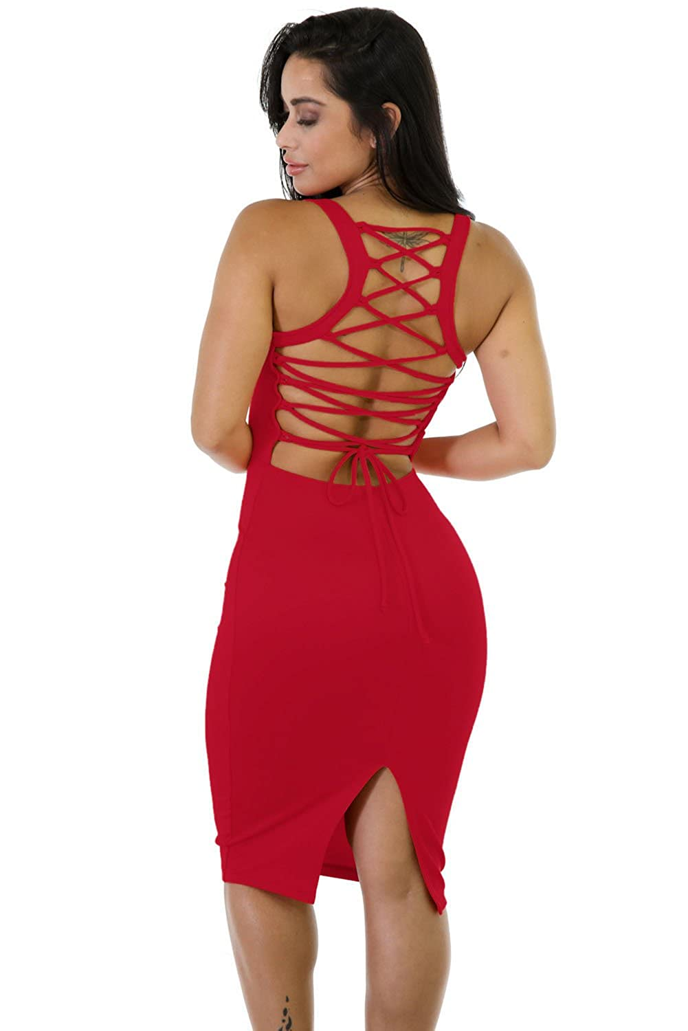 O&W Womens Solid Sexy Corset-Style Slit Back Lace Up Sleeveless Strappy Dress