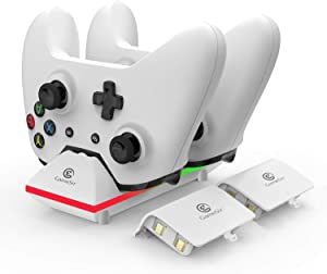 GameSir Xbox One Dual Charging Dock Charger Station with 2X 800mAh Rechargeable Batteries and 3.3ft USB Cable for Xbox One/One S/One Elite Wireless Controller