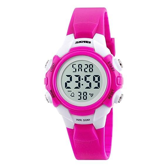 amstt Niños Reloj Deportivo Impermeable Reloj digital para niño niña LED reloj de pulsera para niños kindergesc Henk Color Rosa: Amazon.es: Relojes