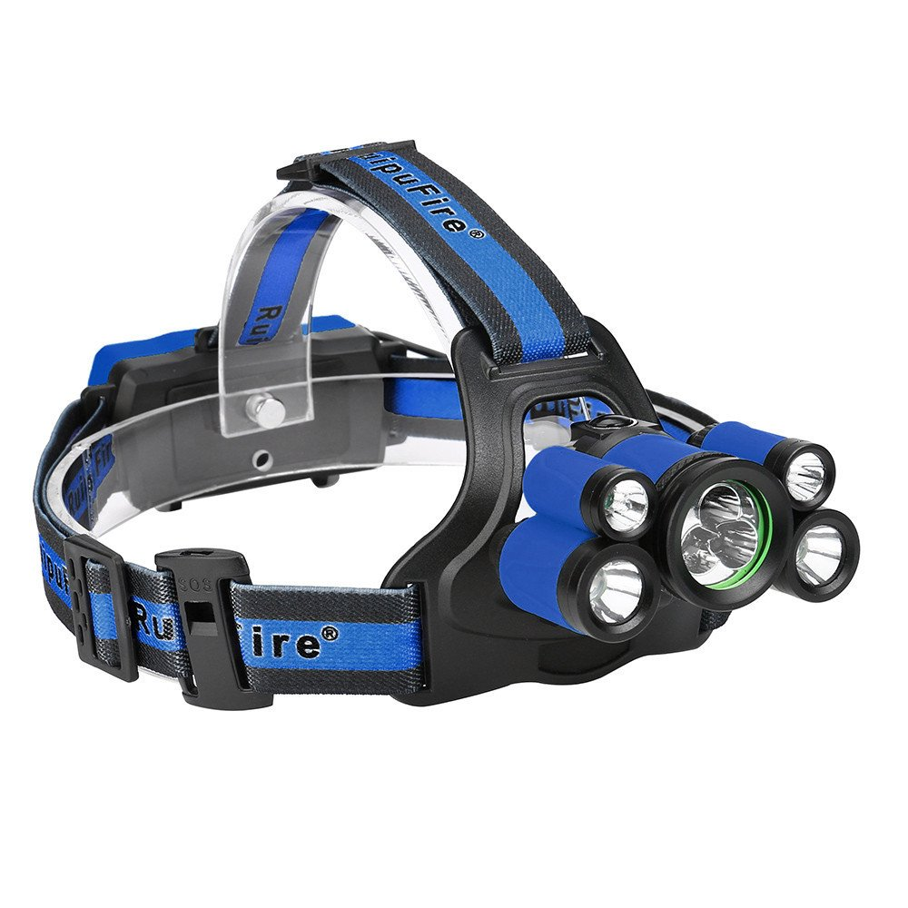 5 modes 35000 LM Rechargeable Headlamp Headlight Travel Head Torch (Blue)