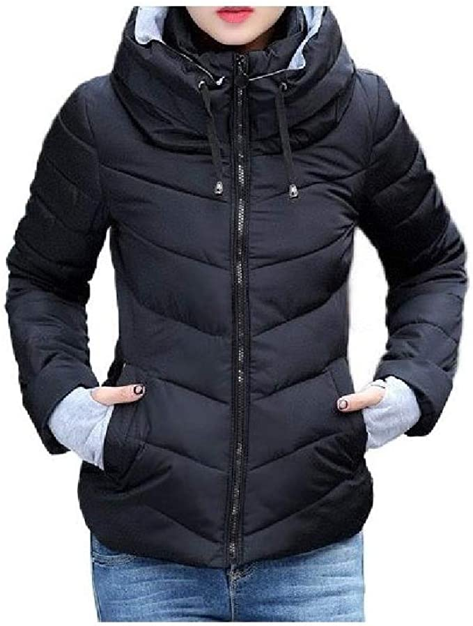 AngelSpace Men Puffer Parka Hoodie Jackets Thick Padded Zip Quilted Coat Jacket