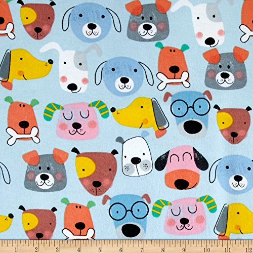 (A.E. Nathan Comfy Flannel Dog Faces Blue Fabric by The Yard,)