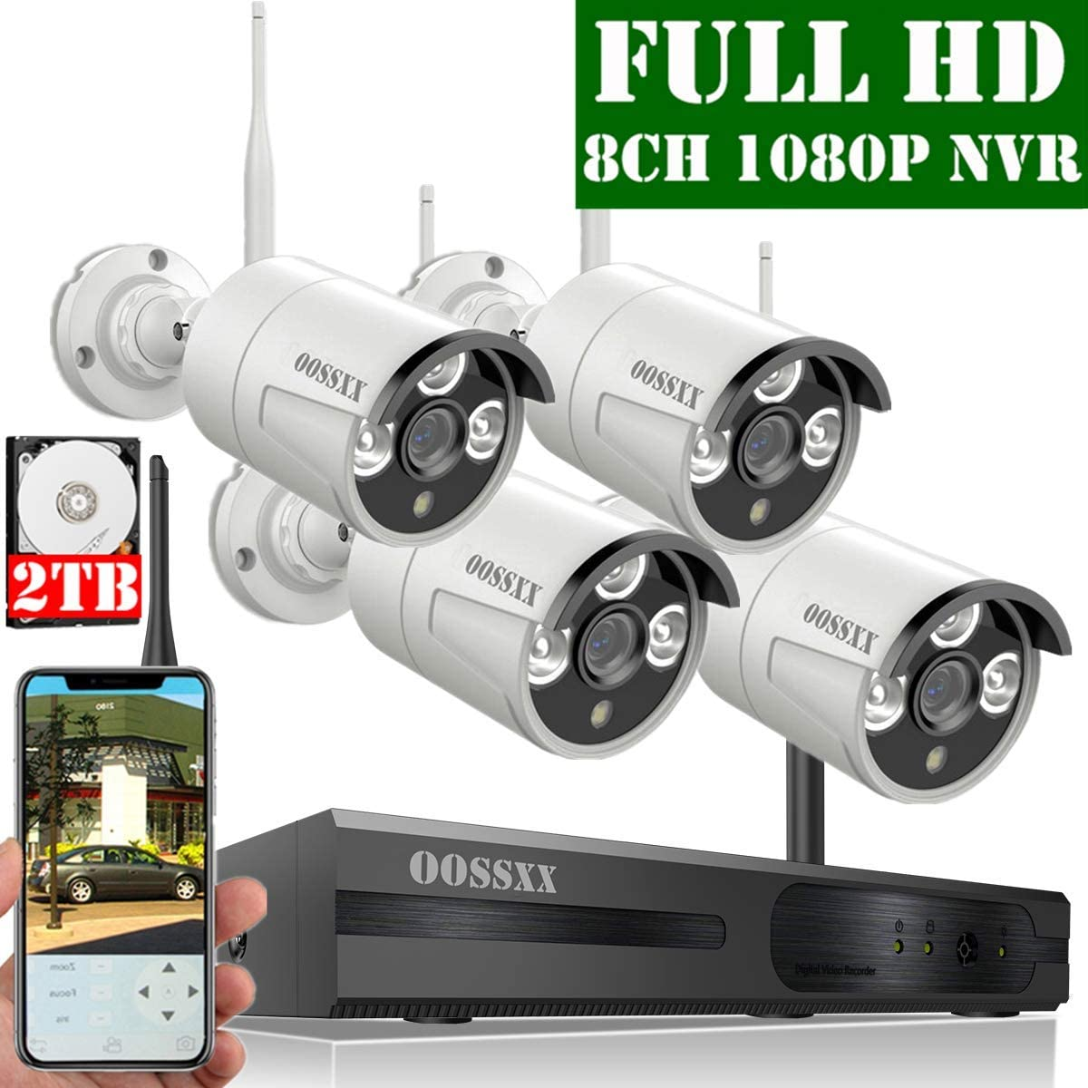 2019 Update OOSSXX 8-Channel HD 1080P Wireless Security Camera System,4Pcs 1080P 2.0 Megapixel Wireless Indoor Outdoor IR Bullet IP Cameras,P2P,App, HDMI Cord 2TB HDD Pre-Install