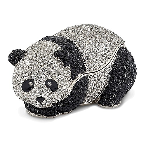 Saris and Things Bejeweled & Full Crystal Panda Bear Trinket Box with Charm Pendant