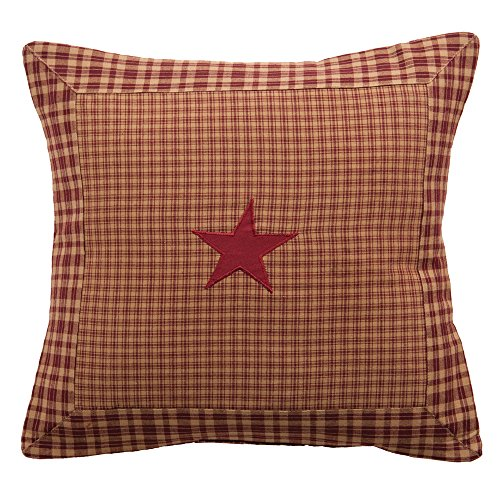 Vintage Star Wine Decorative Pillow Bedding 100% Linen Cotton Fabric 16 x 16 Inches Cushions IHF Home Decor