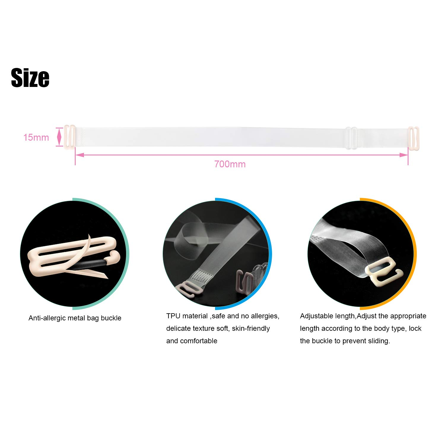 Invisible Clear Replacement Bra Straps Multiple Widths Removable
