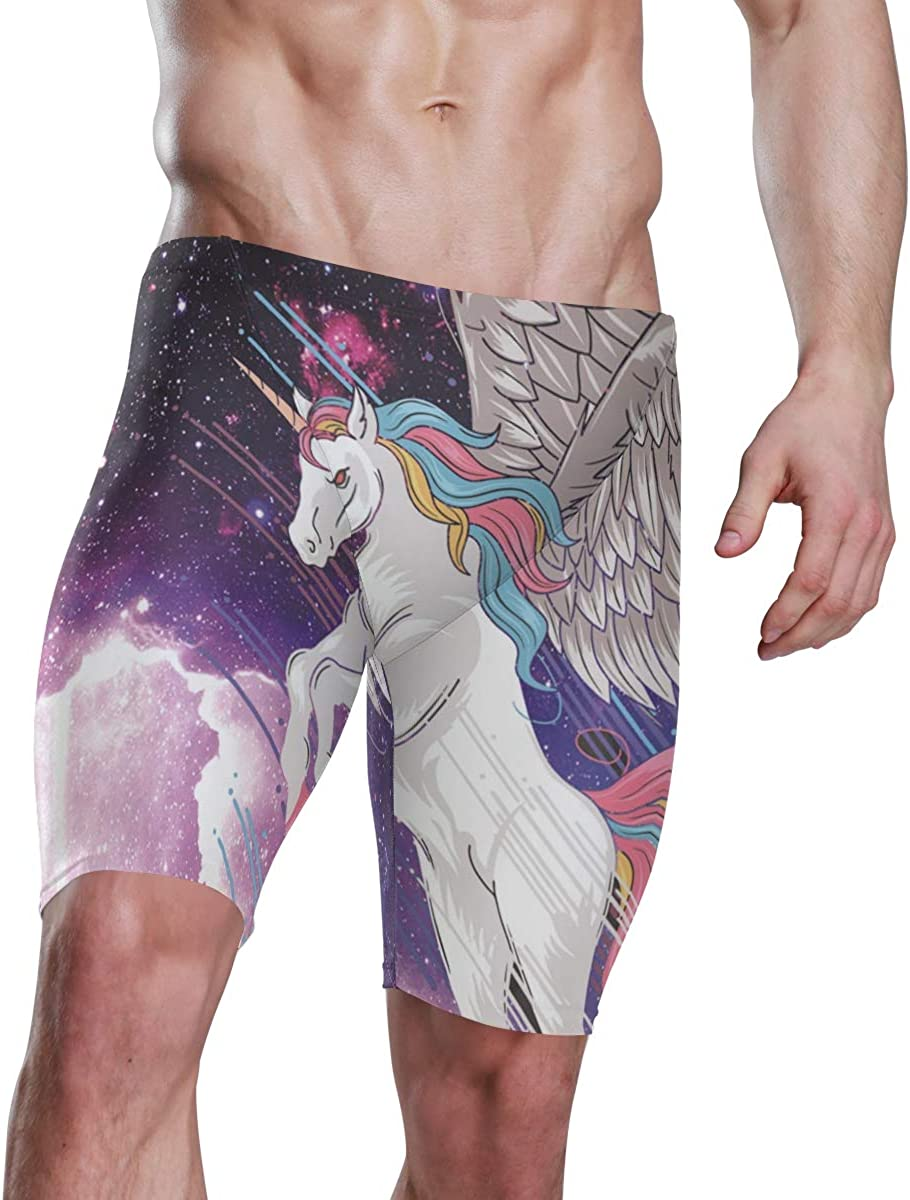 Mens Swim Jammers Cool Unicorn Galaxy Print Male Jammer Swimsuit Boxer Long