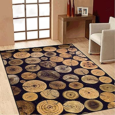 TideTex Retro Fashion Rural Style Rugs Large Livingroom Coffee Table Rug Brown Black Bedroom Carpet Non-slip Washable Tree Rings Area Rug