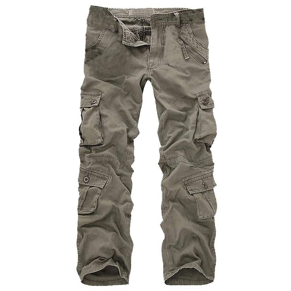 Corriee Mens Casual Pants Cotton Multi-Pocket Outdoors Work Trouser Cargo Long Pants