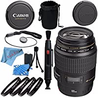 Canon EF 100mm f/2.8 Macro USM Lens 4657A006 + 58mm Macro Close Up Kit + Lens Cleaning Kit + Lens Pouch + Lens Pen Cleaner + Fibercloth Bundle