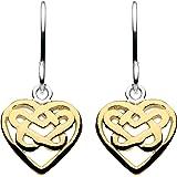 Heritage Women's Sterling Silver Celtic Heart Knot Drop Earrings