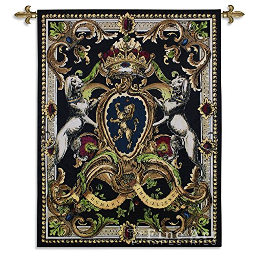 Crest On Black I -Woven Tapestry Wall Art Hanging for Home & Office Decor - Classic Coat of Arms Heraldic Crest Medieval Lion Crown Classical with Dark Earth Tones - -