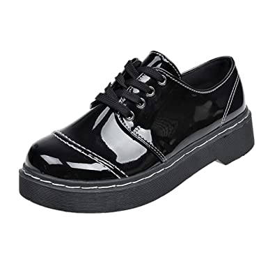 ... Corto de Cuero Casuales Botines con Cordones Botas de Fondo Grueso Zapatos de Mujer Estilo BritáNico Black Friday Botas: Amazon.es: Ropa y accesorios