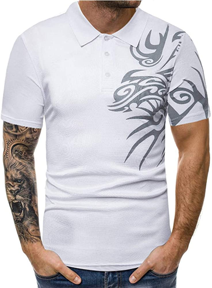 CANDLLY Dragon Totem Print Polo Shirts for Men Pullover Button ...