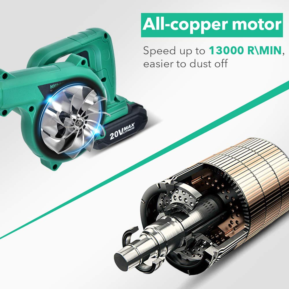 Cordless Leaf Blower  KIMO 20V Lithium 2in1 SweeperVacuum 20 AH Battery for Blowing Leaf Clearing