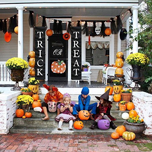 PartyTalk 3pcs Trick or Treat Halloween Banner Outdoor, Halloween Hanging Sign for Home Office Porch Front Door Halloween Decorations by PartyTalk (Image #4)
