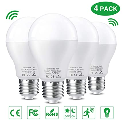 Elfeland E27 LED Glühbirne mit Bewegungsmelder Smart licht Lichtsensor Radarsensor 7W ersetzt 60W Lampe Energiesparlampe für