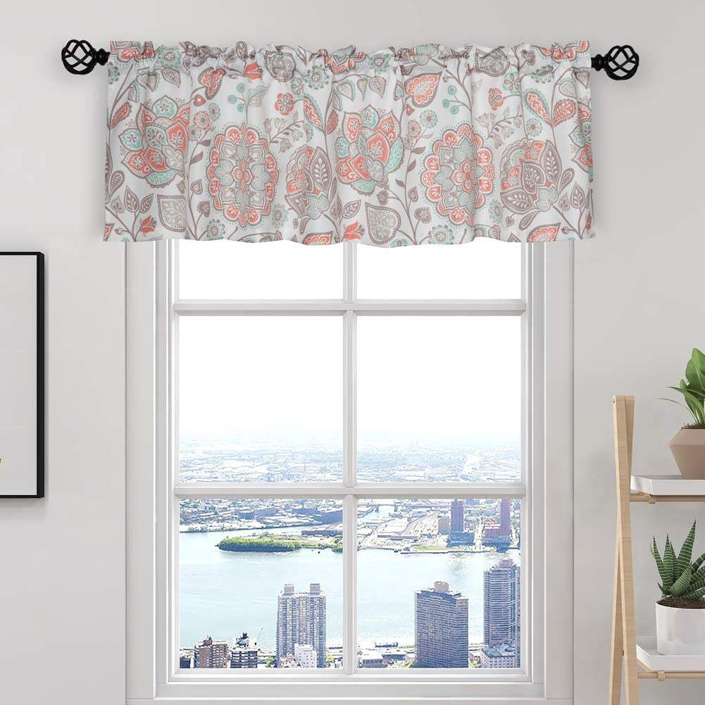 Oremila Kitchen Curtain Valance Multi Color Floral Window Valance For Kitchen And Bathroom Rod Pocket 54 X 15 Red Amazon Co Uk Kitchen Home