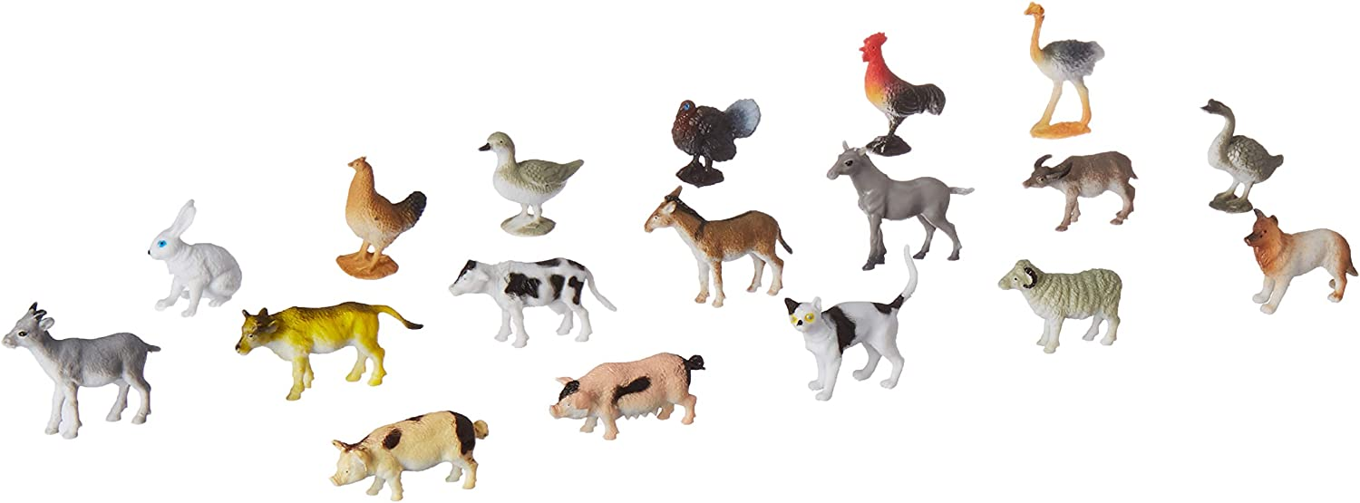 Click N' Play Mini Farm Animal Figurine Playset, Assorted Mini 60Piece Realistically Designed Farm Plastic Animals for Kids & Toddlers