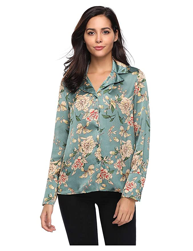 e0ebdbc0078b27 Insia Brand Women s Floral Satin Tops Long Sleeve Loose Button Front Shirt   Amazon.in  Clothing   Accessories