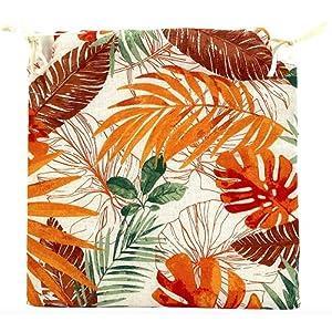 TIENDA EURASIA® Pack de 4 Cojines para Sillas – Estampado Plantas Tropical – 2 Cintas de Sujeción – Ideal para Interiores y Exteriores – 40 x 40 x 3 cm (Color)