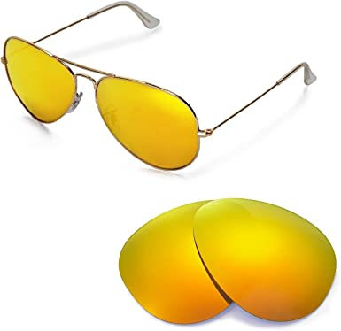 Amazon.com: Walleva Replacement Lenses for Ray-Ban Aviator Large Metal  RB3025 62mm Sunglasses - Multiple Options Available (24K Gold - Polarized):  Clothing