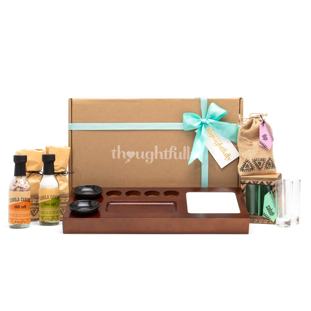 Thoughtfully Gifts, Tequila Cantina Gift Set, Includes 4 Tequila Shot Glasses, Chili Salt, Lime Salt, Mini Round Plates and Wood Serving Tray