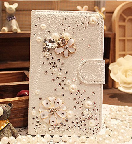 (Galaxy J7 Prime Wallet Case,Berry Handmade 3D Bling Crystal Rhinestone White Leather Flip Card Pouch Stand Case for Samsung Galaxy Galaxy J7 V / J7 Perx / J7 Sky Pro / J7 2017 S Line Pearl Flower)