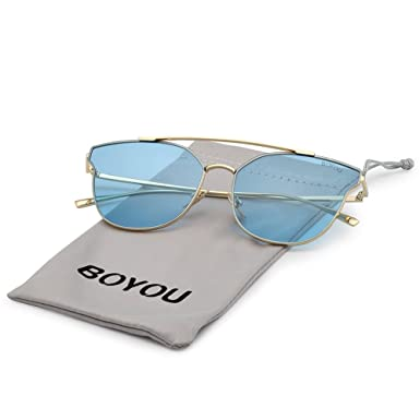 BOYOU Premium Full Mirror Objektiviv Flieger Sonnenbrille,UV400 SCHUTZ