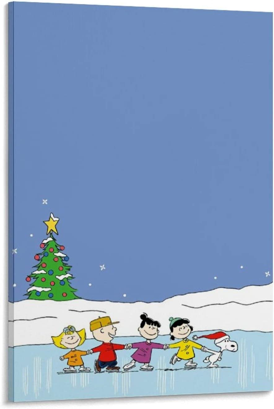 Decor Canvas Wall Art Snoopy and Charlie Brown's Christmas Limited 16x24inch(40x60cm) Canvas Print Art Kids Room Decor Watercolor Picture Unframed/Frameable