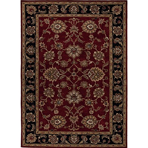 2.5' x 4' Ruby Red and Midnight Black Classic Anthea Hand Tufted Wool Area Throw Rug Runner Midnight Red Area Rugs