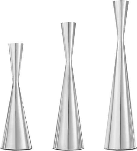 Dyna-Living Candle Holders 3pcs Silver Candlestick Holders Taper Candle Holders
