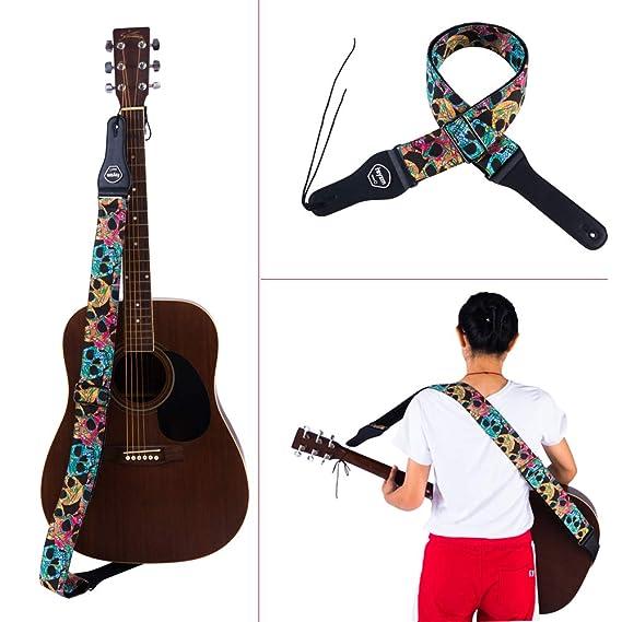 Rayzm Correa de la Guitarra y Bajo, Correa Grande de Algodón para Guitarra Acústica/Eléctrica/bajo con Bolsillo para Púa y Diseño de Calaveras, ...