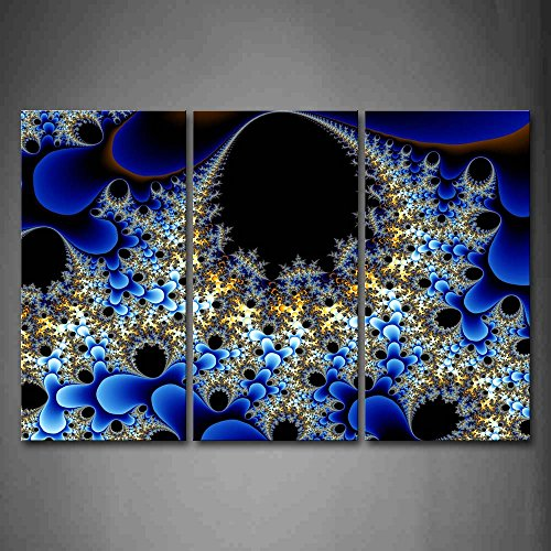 - First Wall Art - Fractal Abstract Blue Black Wall Art Painting Pictures Print On Canvas Abstract The Picture For Home Modern Decoration