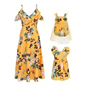 PopReal Mommy and Me Dresses Floral Printed Sleeveless Infant Baby Girl Tulle Dress Romper Yellow