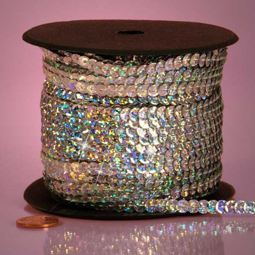 Silver Holographic Faceted Sequins, 6mm X 80Yd Paper Mart 4337037426