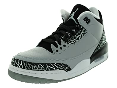 Jordan Nike Mens Air 3 Retro Wolf Grey Metallic Silver-Black-White Leather 52334f3a2