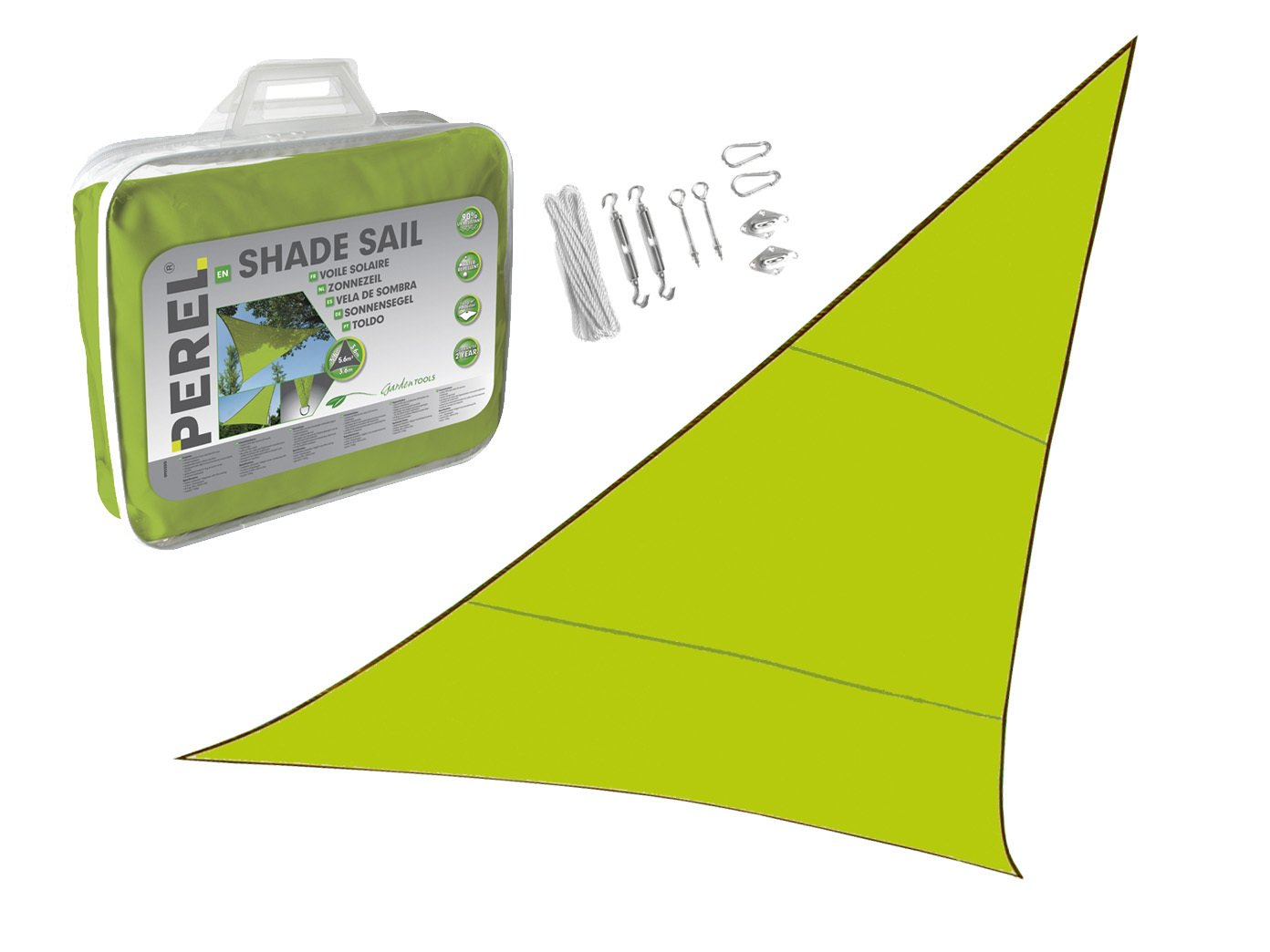 Sonnensegel Dreieck 5m Farbe Grün Ihren mit praktischem Ösen Montagekit - Sonnenschutz für Ihren Grün Garten   Balkon  b126c4