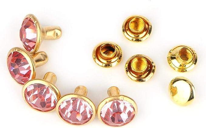 Gold Edge + White Crystal HEEPDD 100 Pcs 10mm Crystal Rivets DIY Fashion Rhinestone Nailhead Studs for DIY Leather-Craft