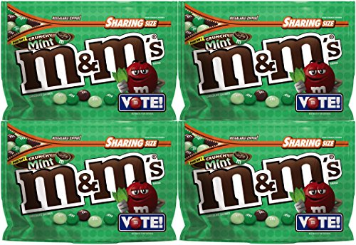 M&M's Chocolate Candy (4 Pack) Flavor Vote Crunchy Mint Sharing Size, 8 Ounce Bags