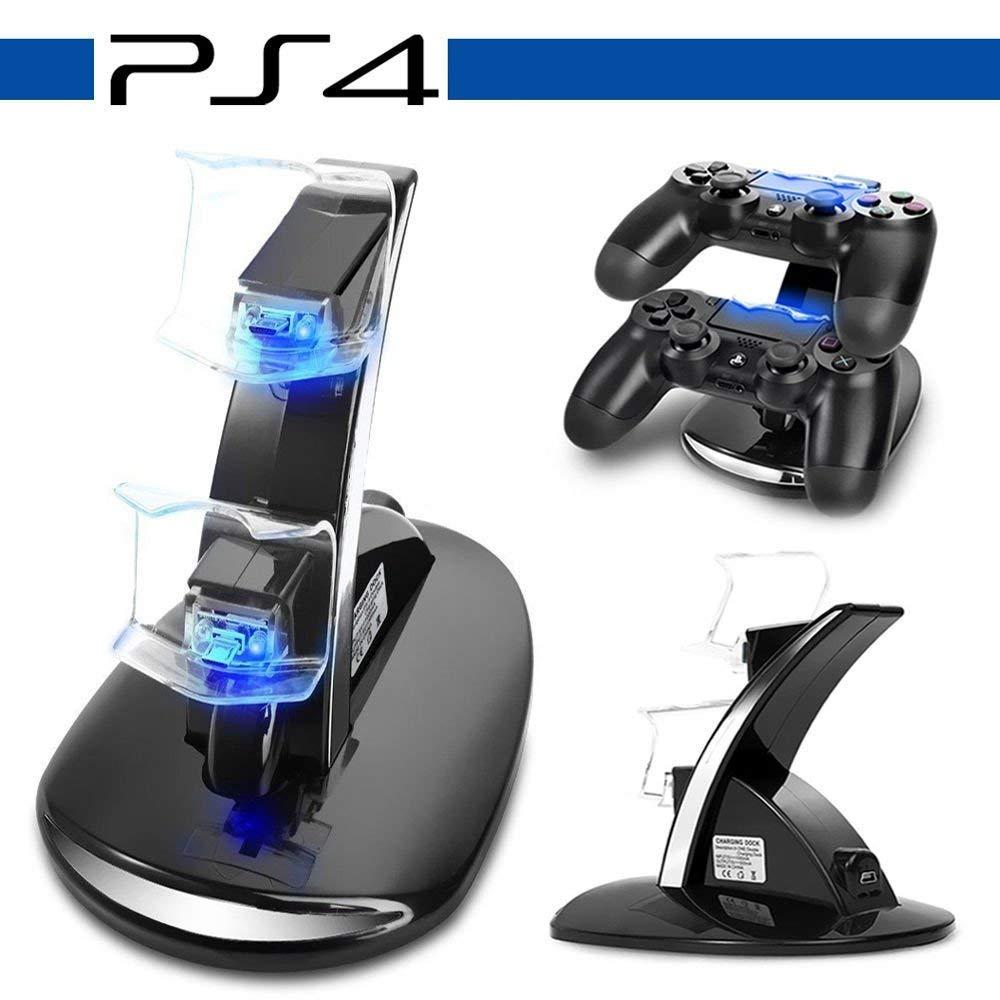 PS4 Dual Controller Caricatore, Likorlove Stazione di Ricarica per PS4, Dual USB Supporto di Carico del Caricatore per Playstation 4 PS4 / PS4 Pro / PS4 Slim Wireless Controller