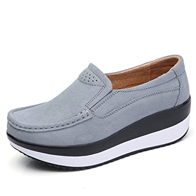 890701203b5 gracosy Womens Ladies Platform Shoes Slip On Suede Leather Loafers  Comfortable Wedge Work Shoes Casual Toning Rocker Wedge Walking Shoes  Platform Sneaker ...